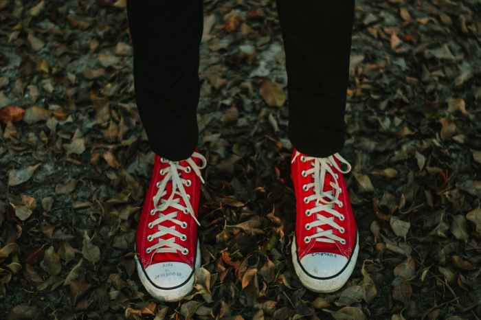 person wearing red and white sneakers standing on withered leaves